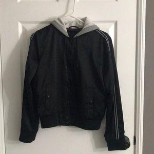 Black bomber jacket with stripe on side